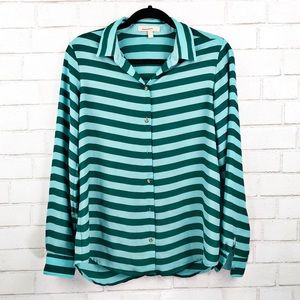 Banana Republic Teal Striped Button Up Shirt Sz M